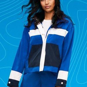 Women's Color-blocked Hooded Windbreaker Jacket